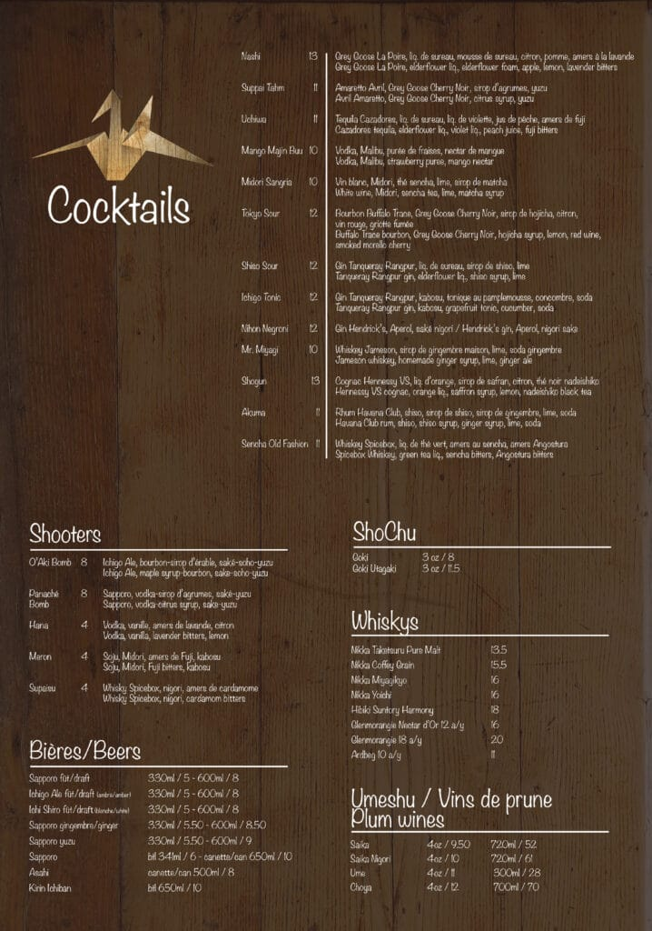 Ichigo Ichie Cocktail Menu